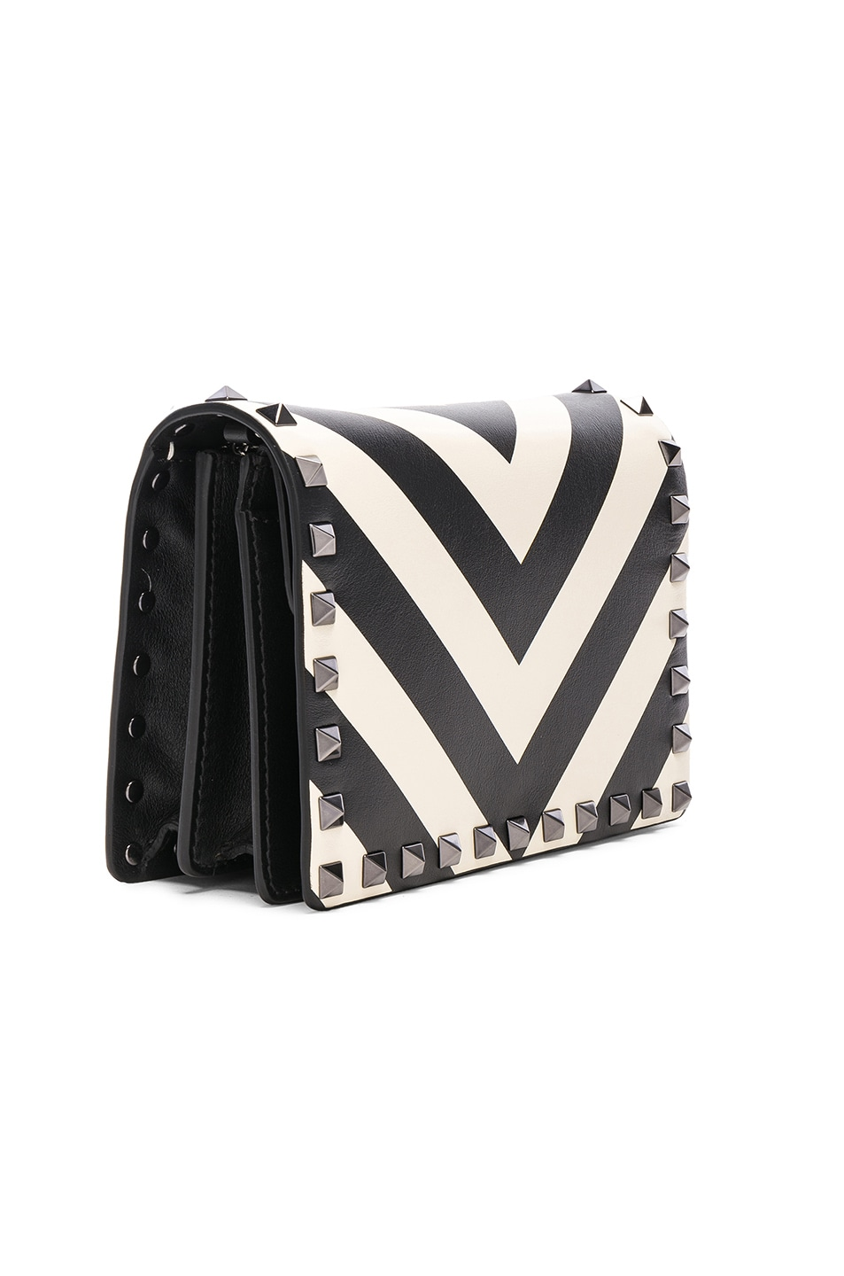 Image 4 of Valentino Rockstud V Stripe Pouch in Light Ivory & Black
