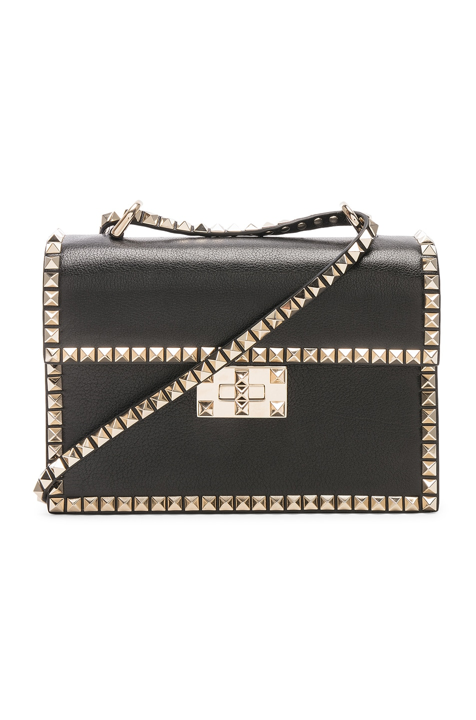 Image 1 of Valentino Small Rockstud No Limit Crossbody Bag in Black
