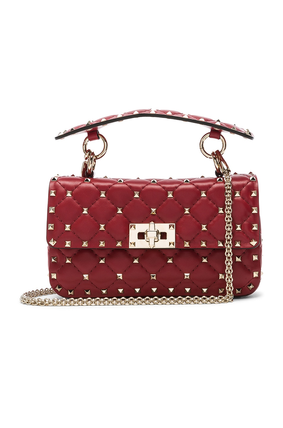 Image 1 of Valentino Small Rockstud Spike Shoulder Bag in Red
