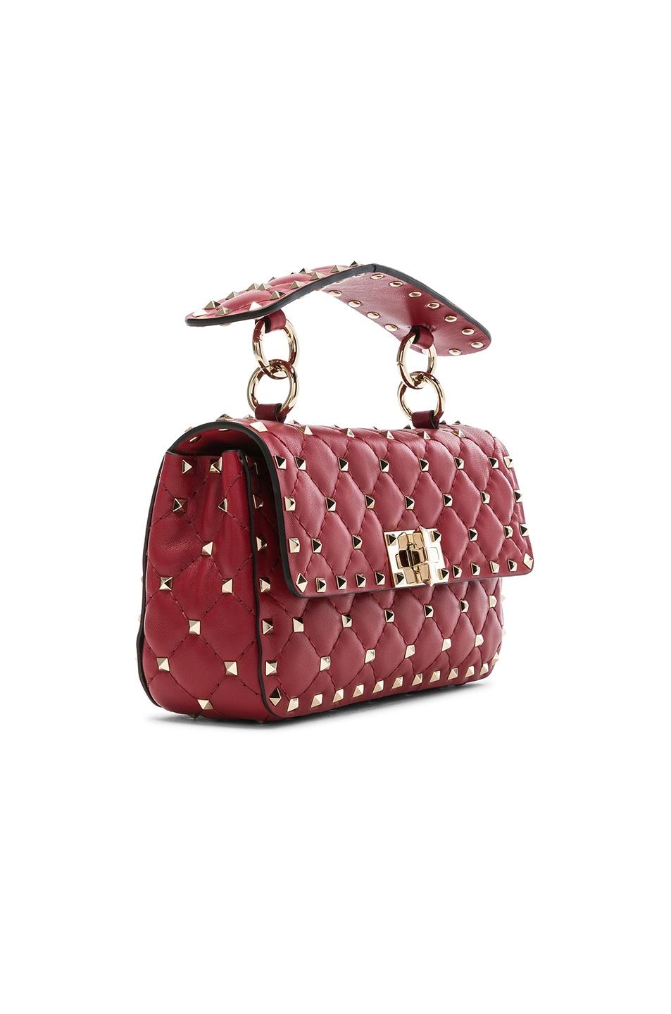 Image 4 of Valentino Small Rockstud Spike Shoulder Bag in Red
