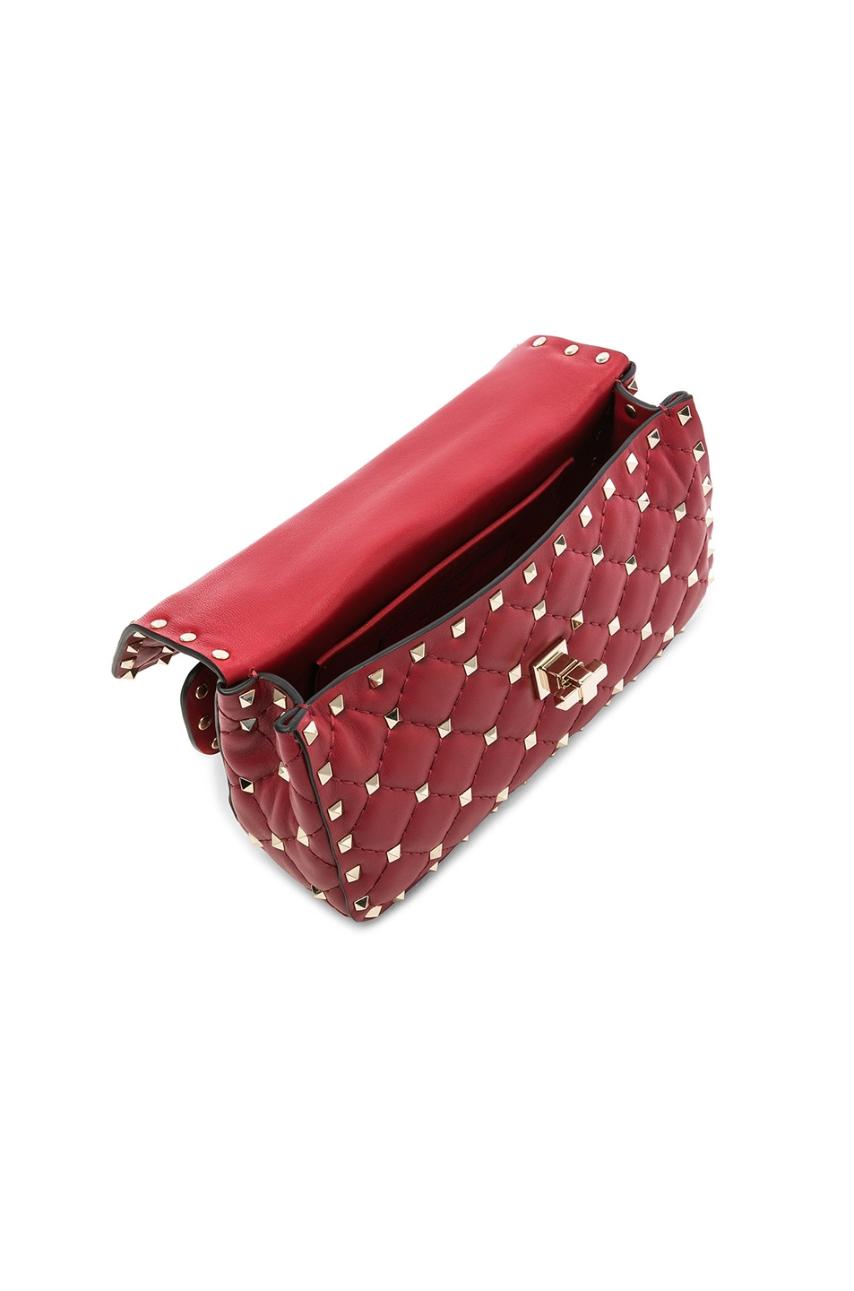 Image 5 of Valentino Small Rockstud Spike Shoulder Bag in Red