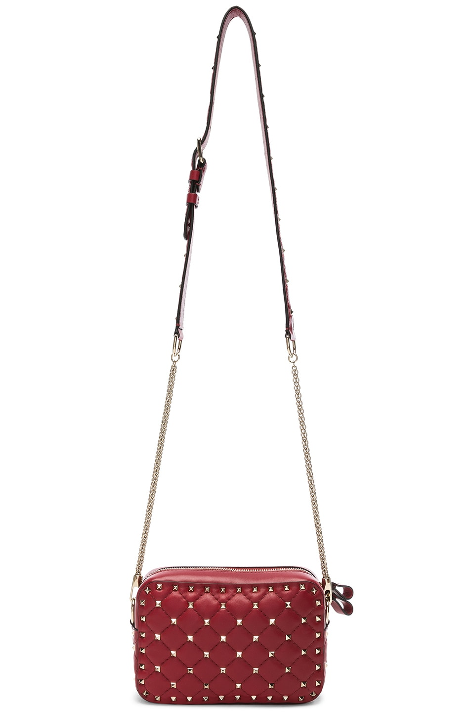 Image 5 of Valentino Rockstud Spike Crossbody Bag in Red