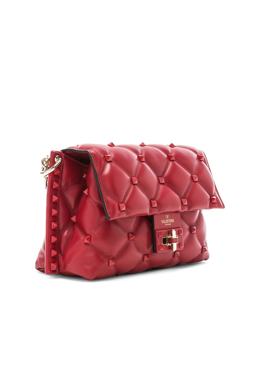 Image 4 of Valentino Medium Candystud Shoulder Bag in Red