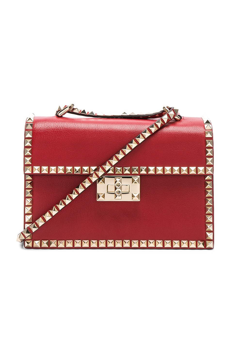 Image 1 of Valentino Small Rockstud No Limit Crossbody Bag in Red