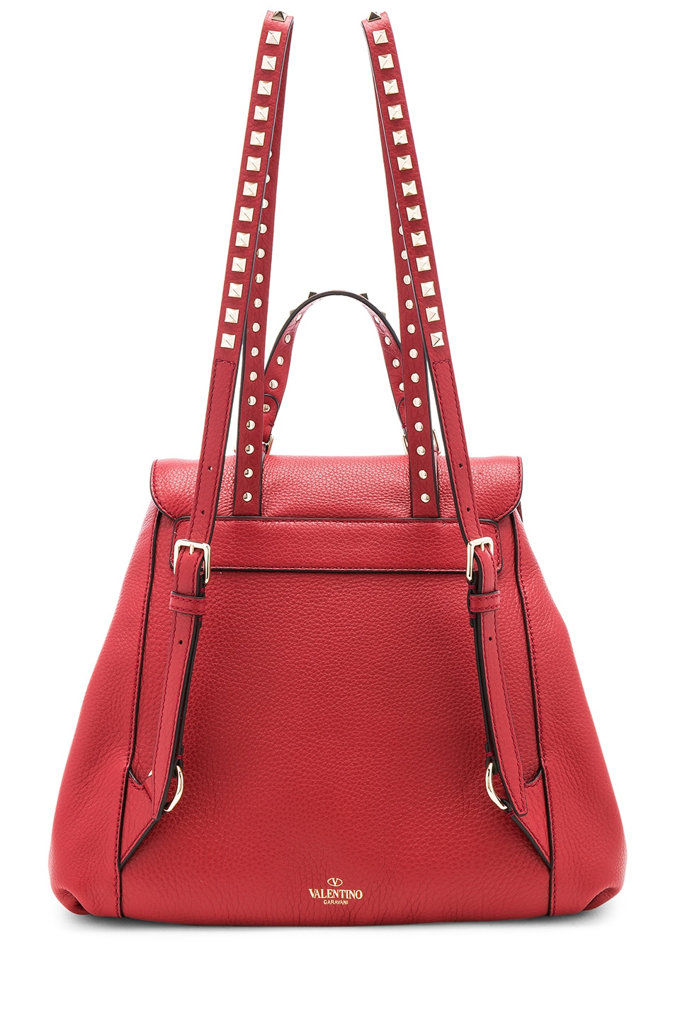 Image 3 of Valentino Rockstud Backpack in Red