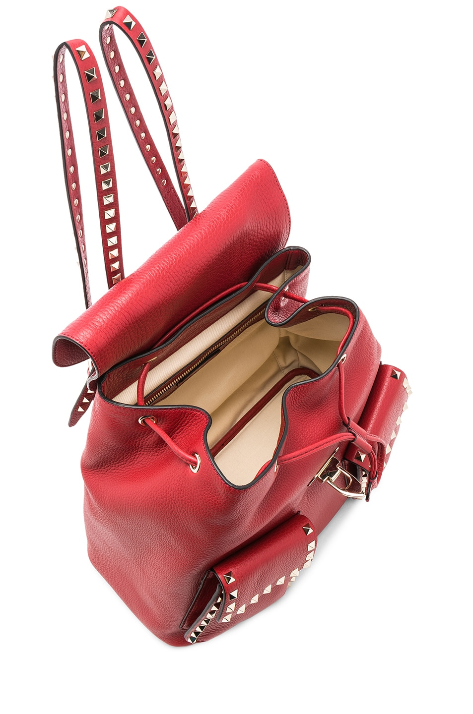 Image 4 of Valentino Rockstud Backpack in Red