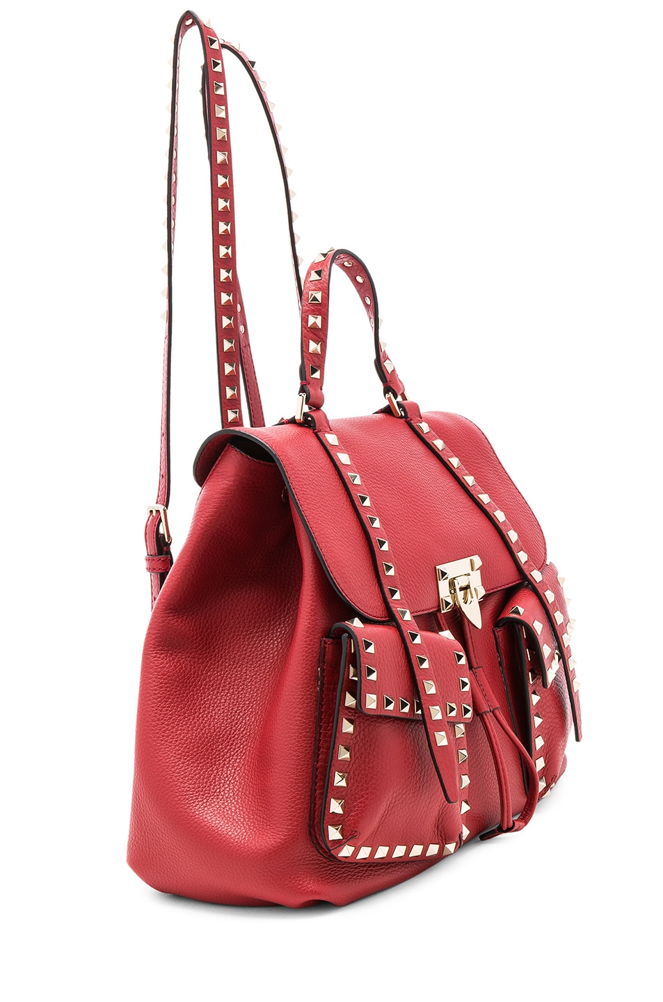 Image 5 of Valentino Rockstud Backpack in Red