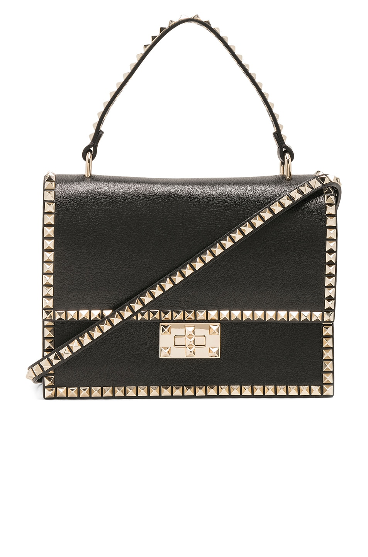 Image 1 of Valentino Rockstud No Limit Top Handle Bag in Black