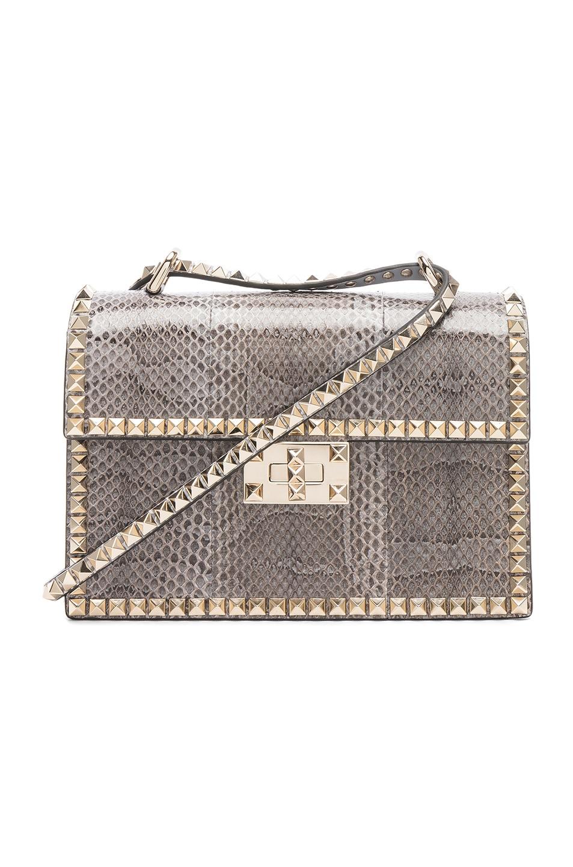Image 1 of Valentino Small Snakeskin Rockstud No Limit Shoulder Bag in Silver Blue