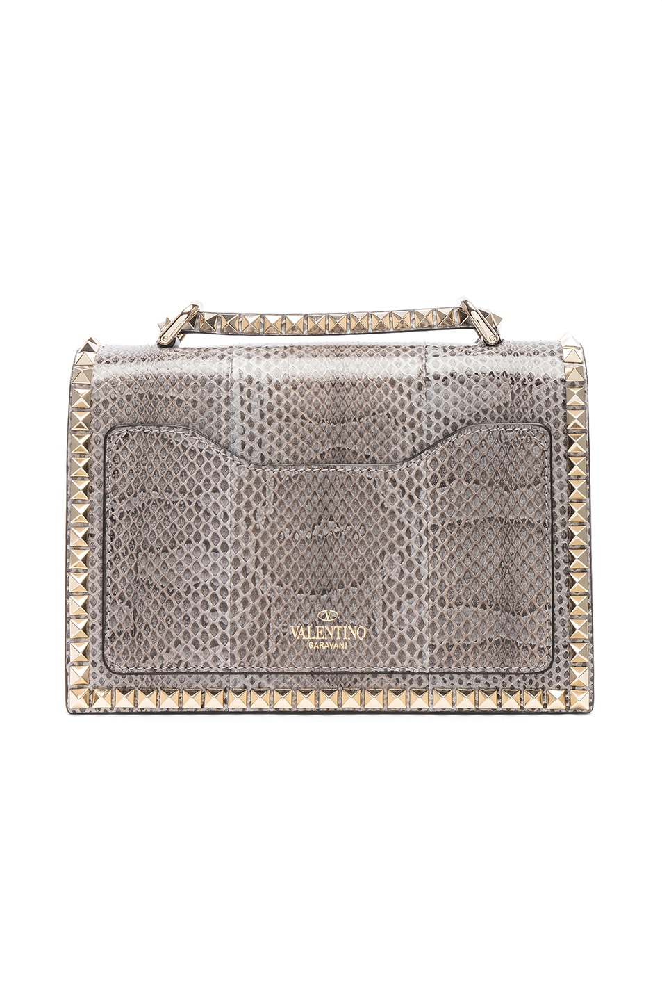Image 2 of Valentino Small Snakeskin Rockstud No Limit Shoulder Bag in Silver Blue