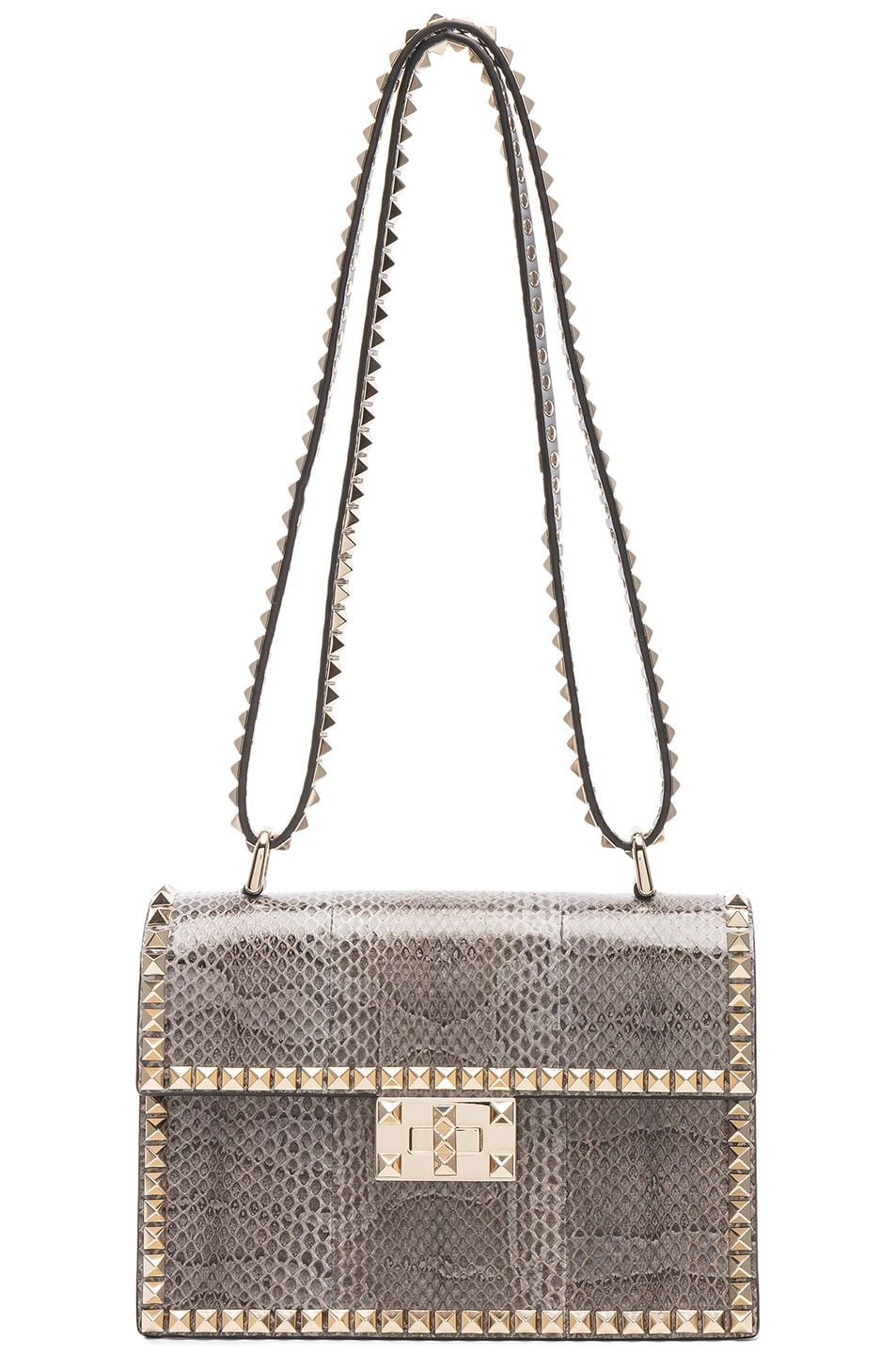 Image 6 of Valentino Small Snakeskin Rockstud No Limit Shoulder Bag in Silver Blue