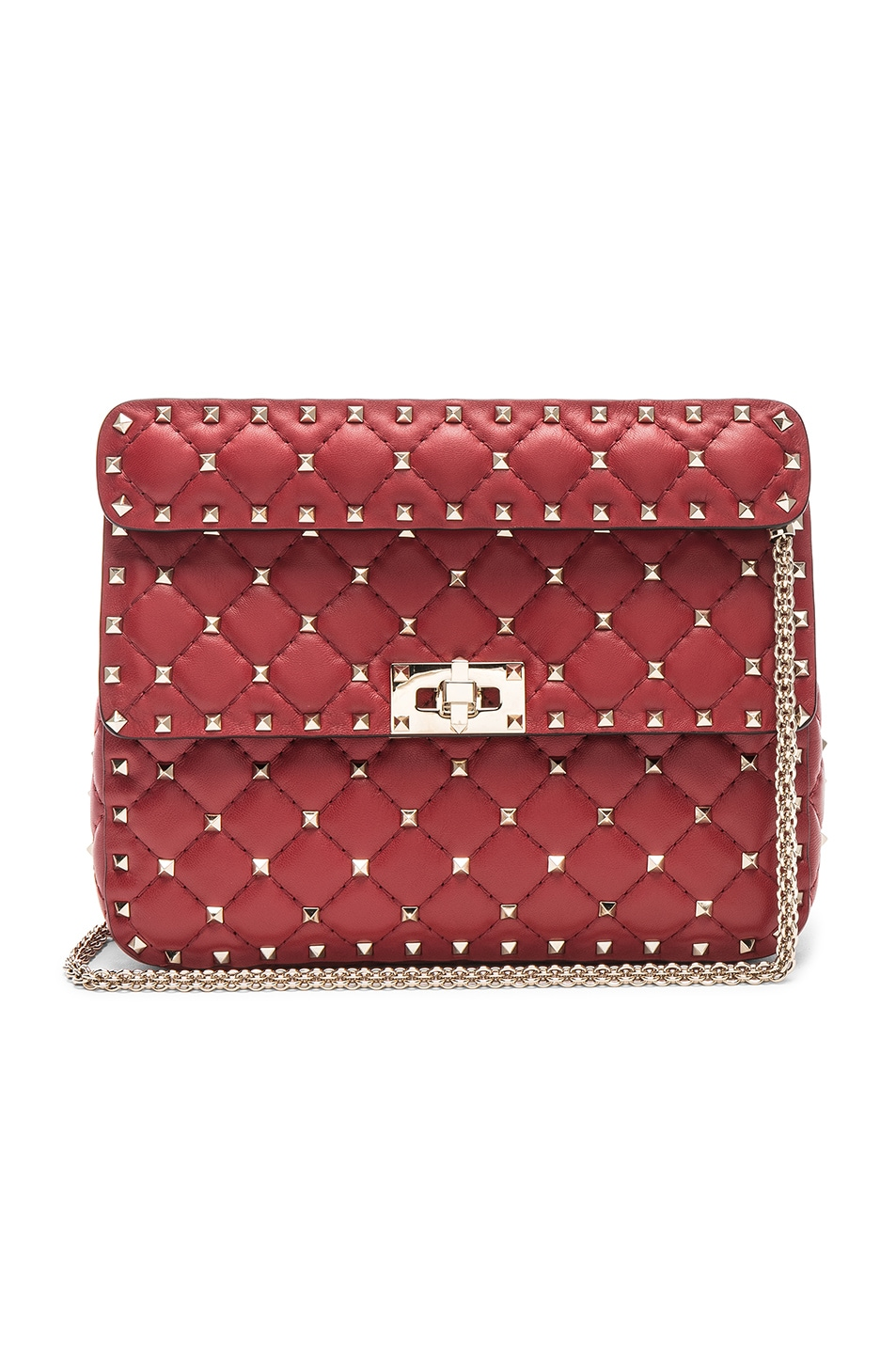 Image 1 of Valentino Rockstud Spike Medium Shoulder Bag in Red