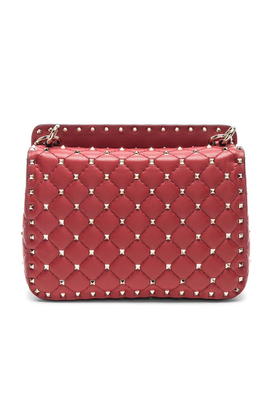 Image 3 of Valentino Rockstud Spike Medium Shoulder Bag in Red