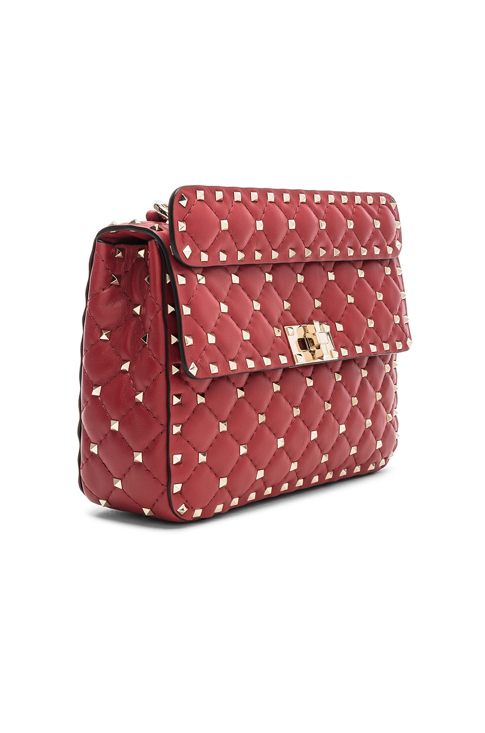 Image 4 of Valentino Rockstud Spike Medium Shoulder Bag in Red
