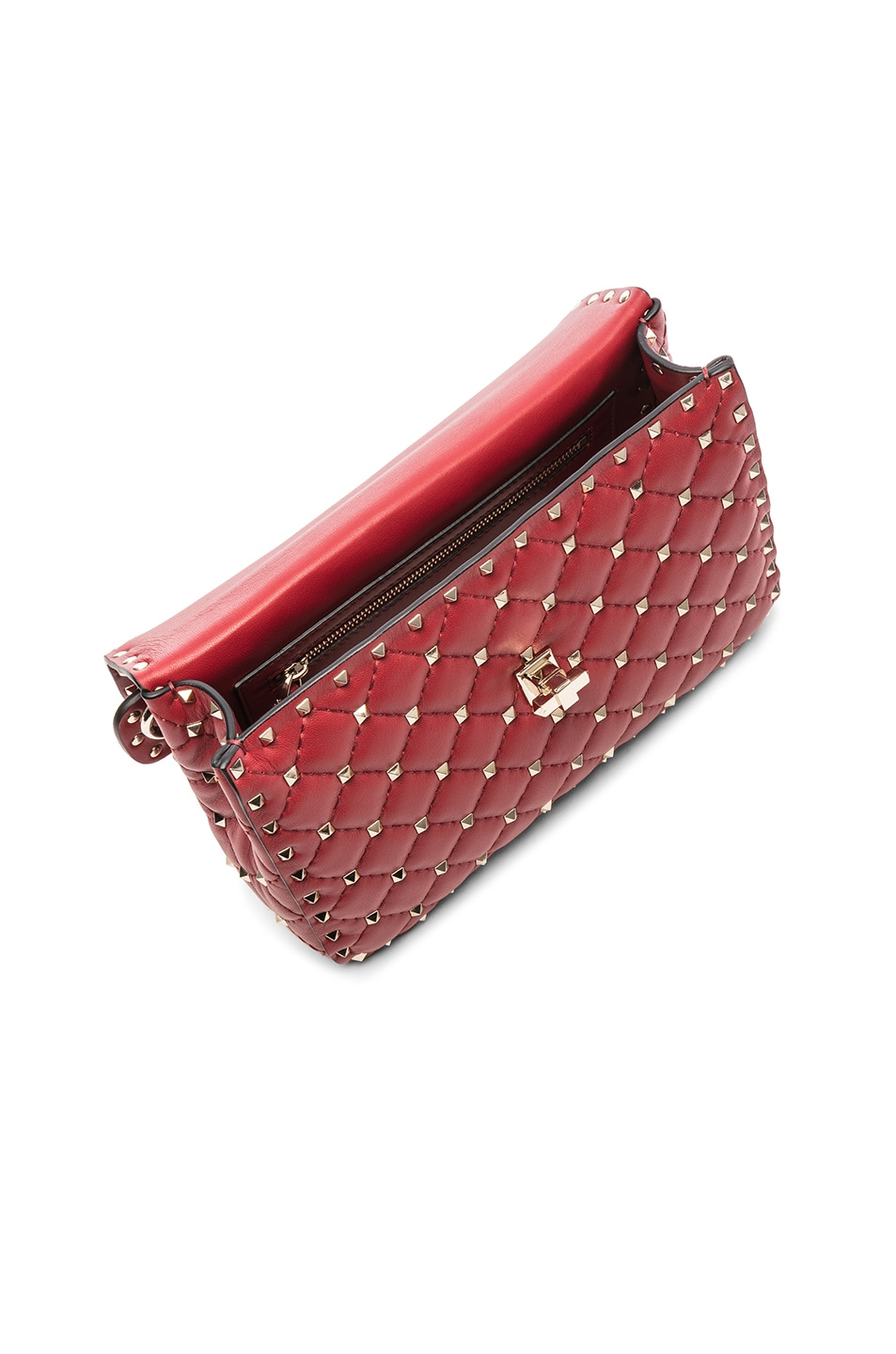 Image 5 of Valentino Rockstud Spike Medium Shoulder Bag in Red