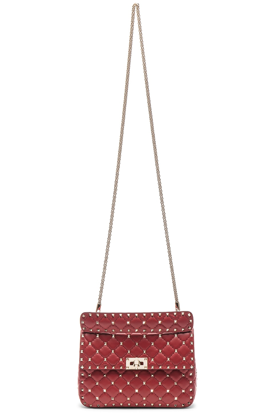 Image 6 of Valentino Rockstud Spike Medium Shoulder Bag in Red
