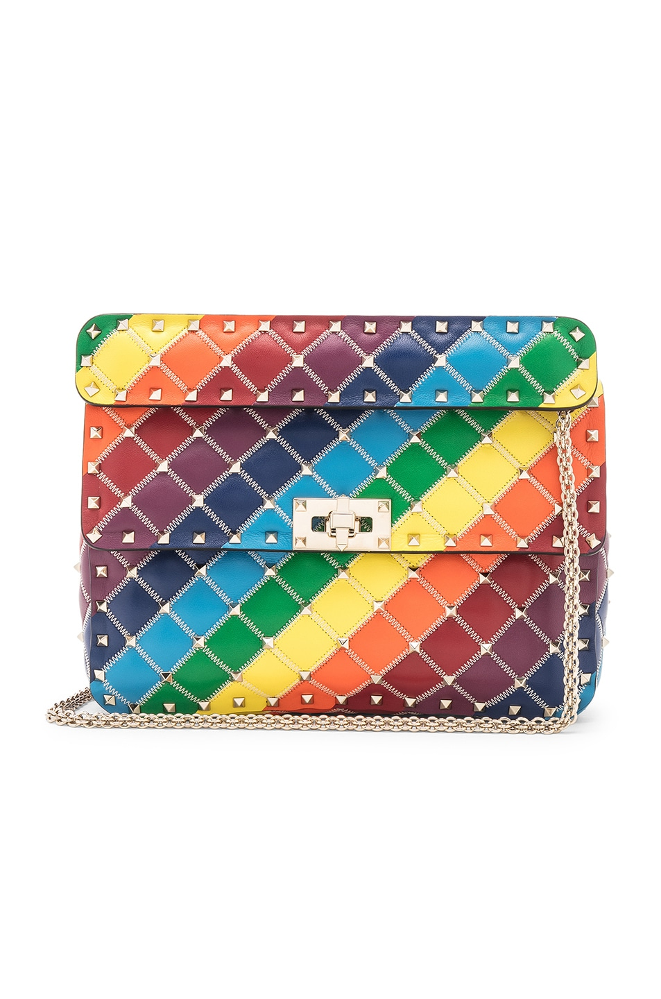 Image 1 of Valentino Spike It Medium Shoulder Bag in Rainbow