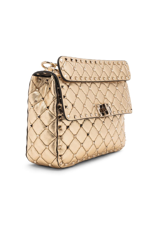 Image 4 of Valentino Rockstud Spike Medium Shoulder Bag in Gold & Platinum