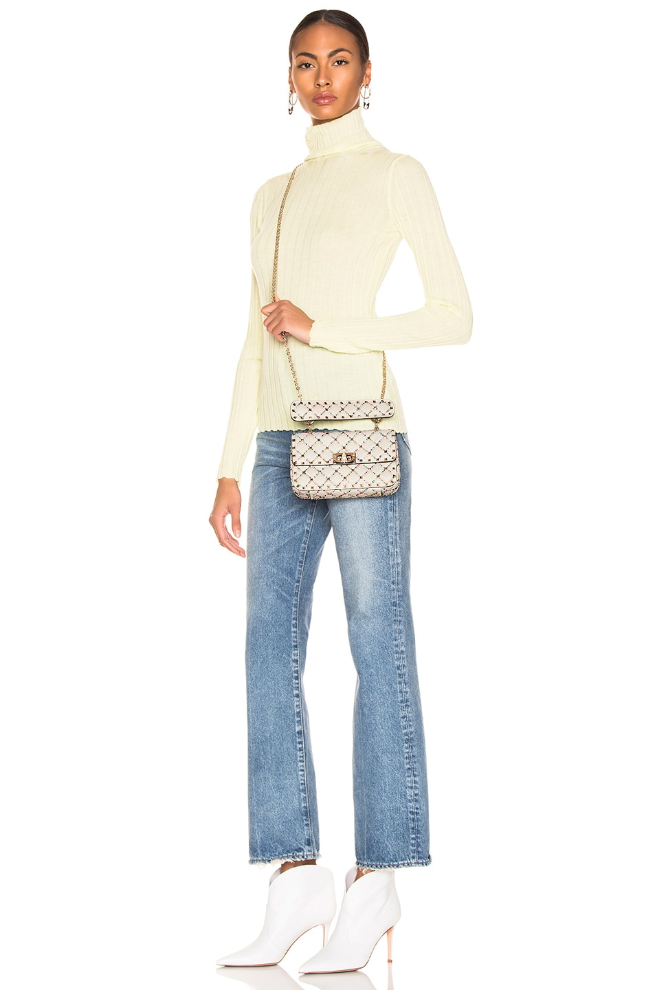 Image 2 of Valentino Spike It Small Shoulder Bag in Light Ivory