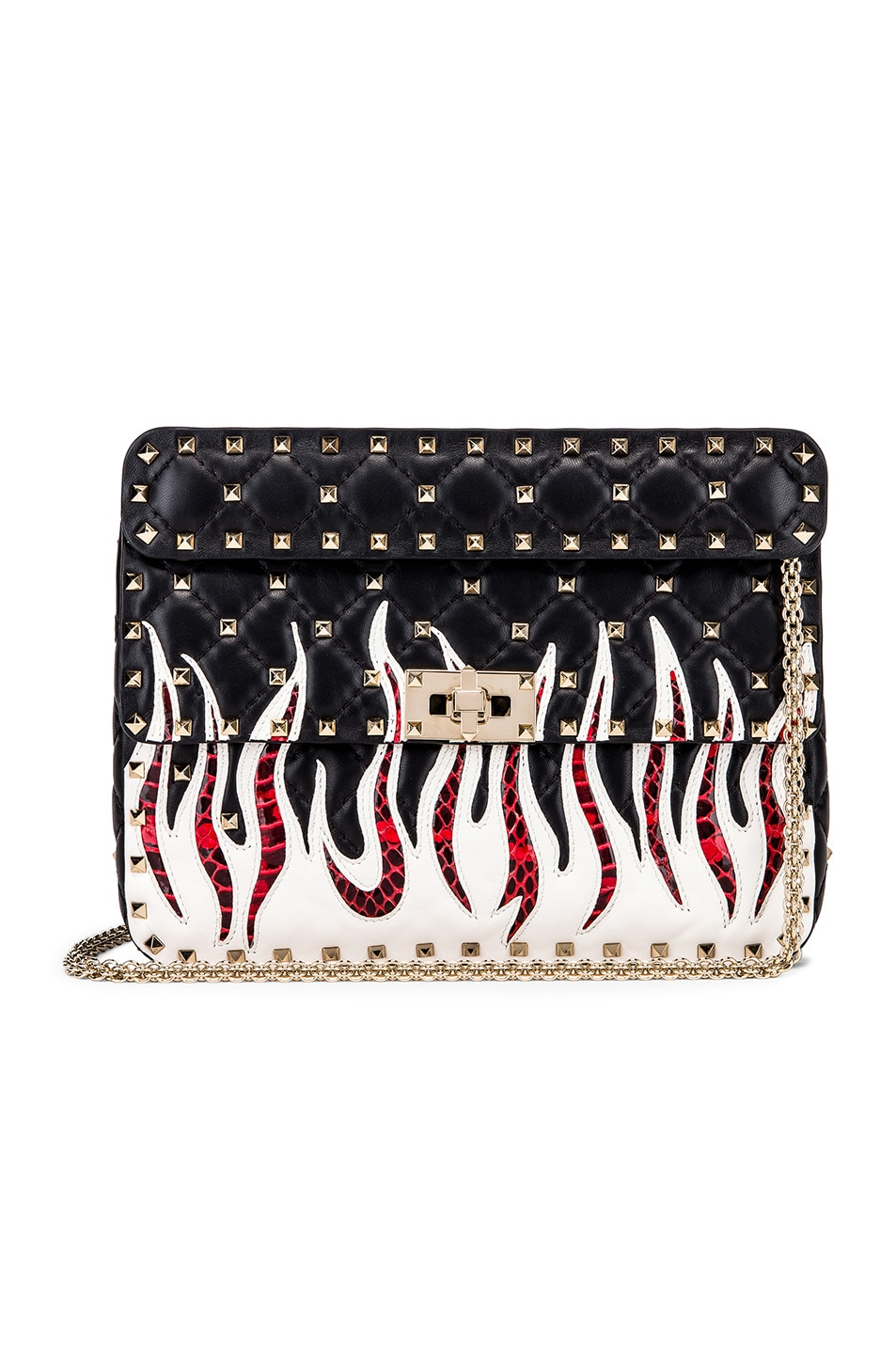 Image 1 of Valentino Spike It Flames Medium Shoulder Bag in Nero