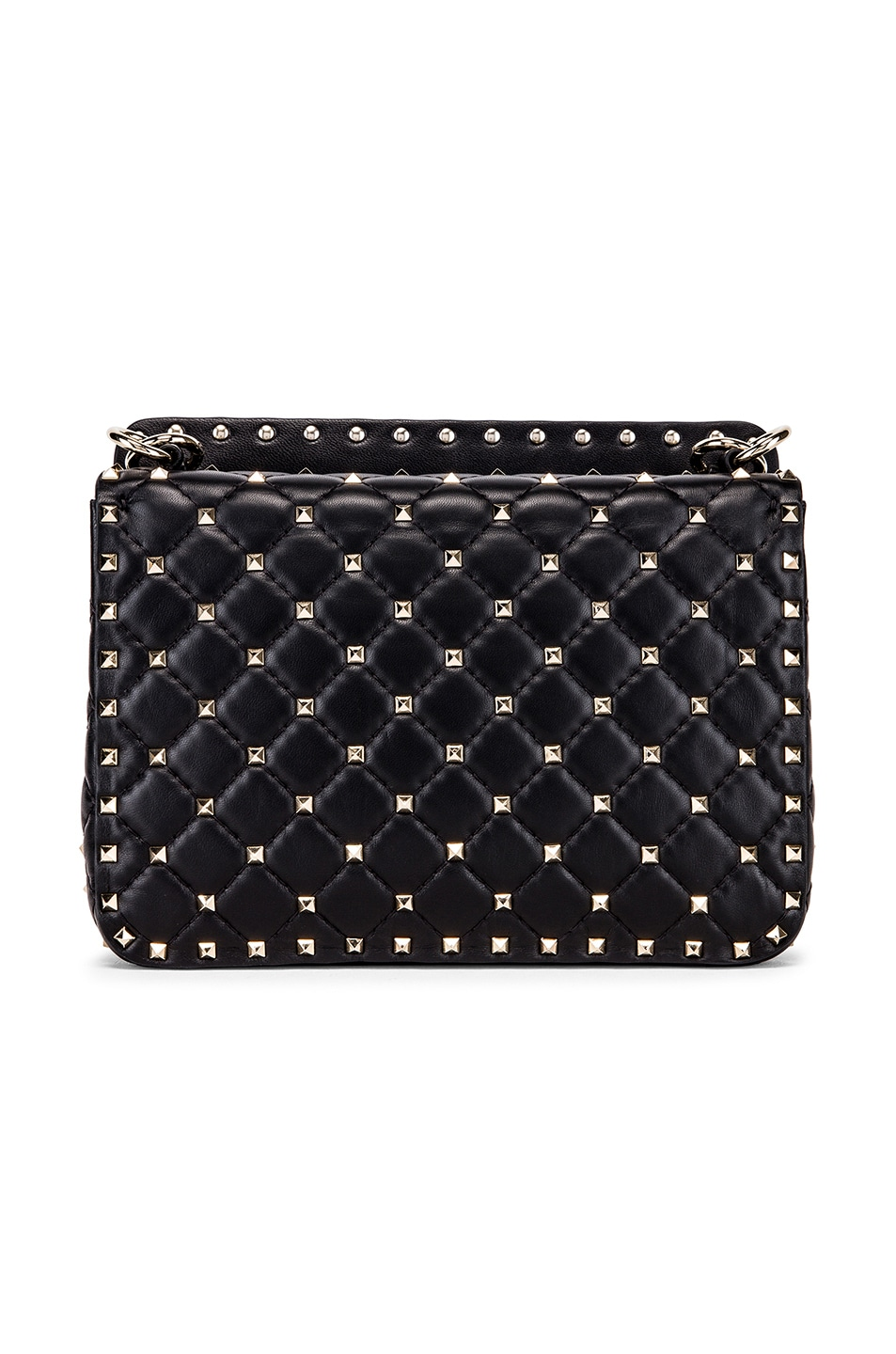 Image 3 of Valentino Spike It Flames Medium Shoulder Bag in Nero