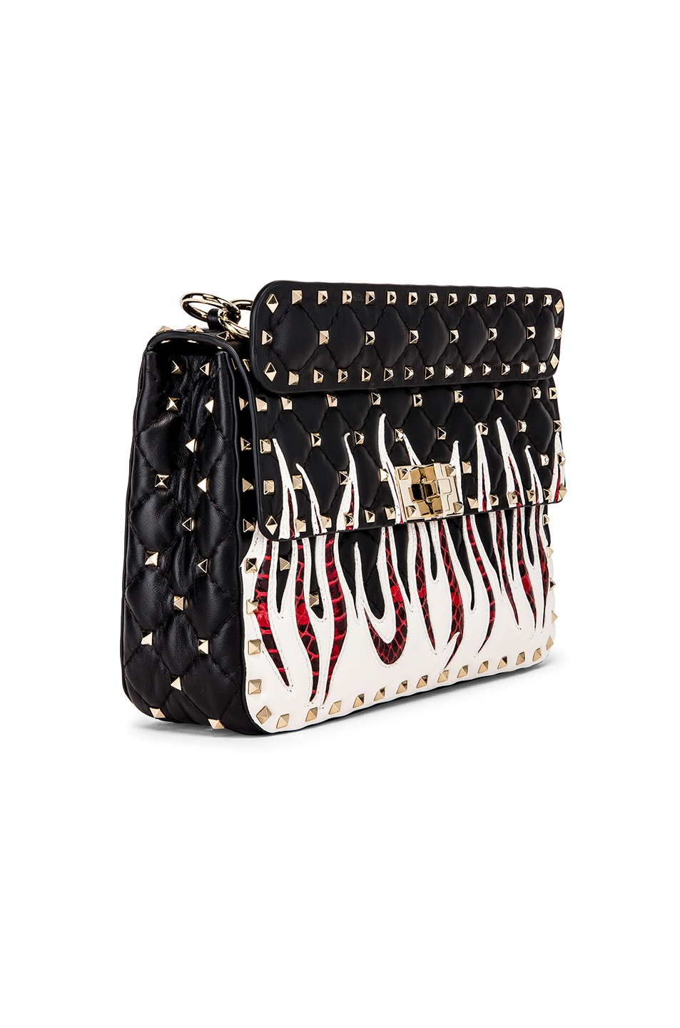 Image 4 of Valentino Spike It Flames Medium Shoulder Bag in Nero