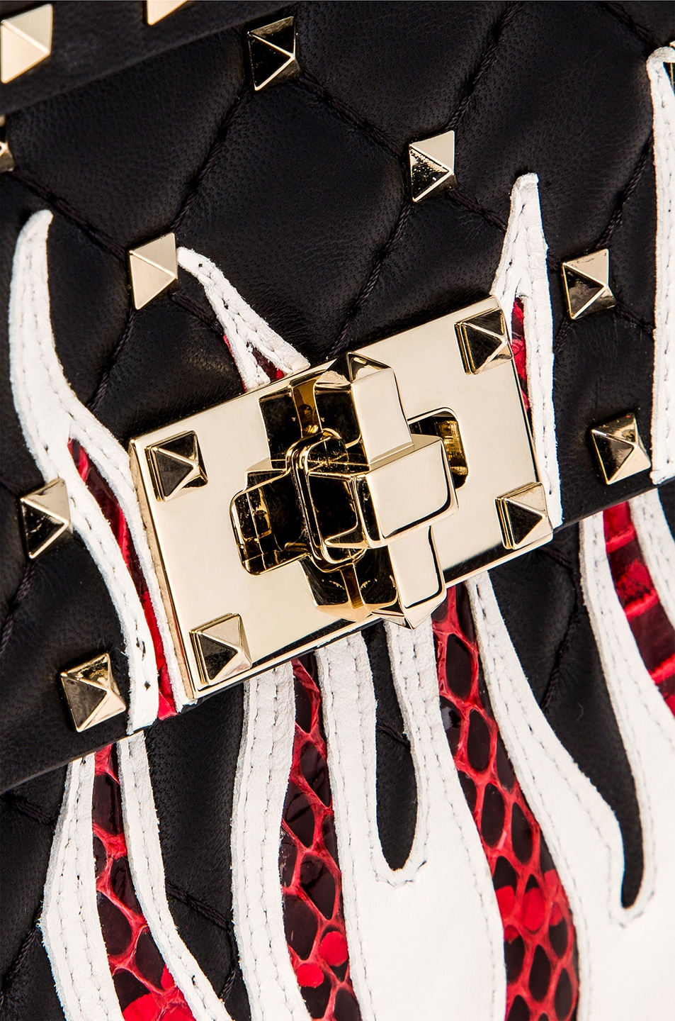 Image 8 of Valentino Spike It Flames Medium Shoulder Bag in Nero