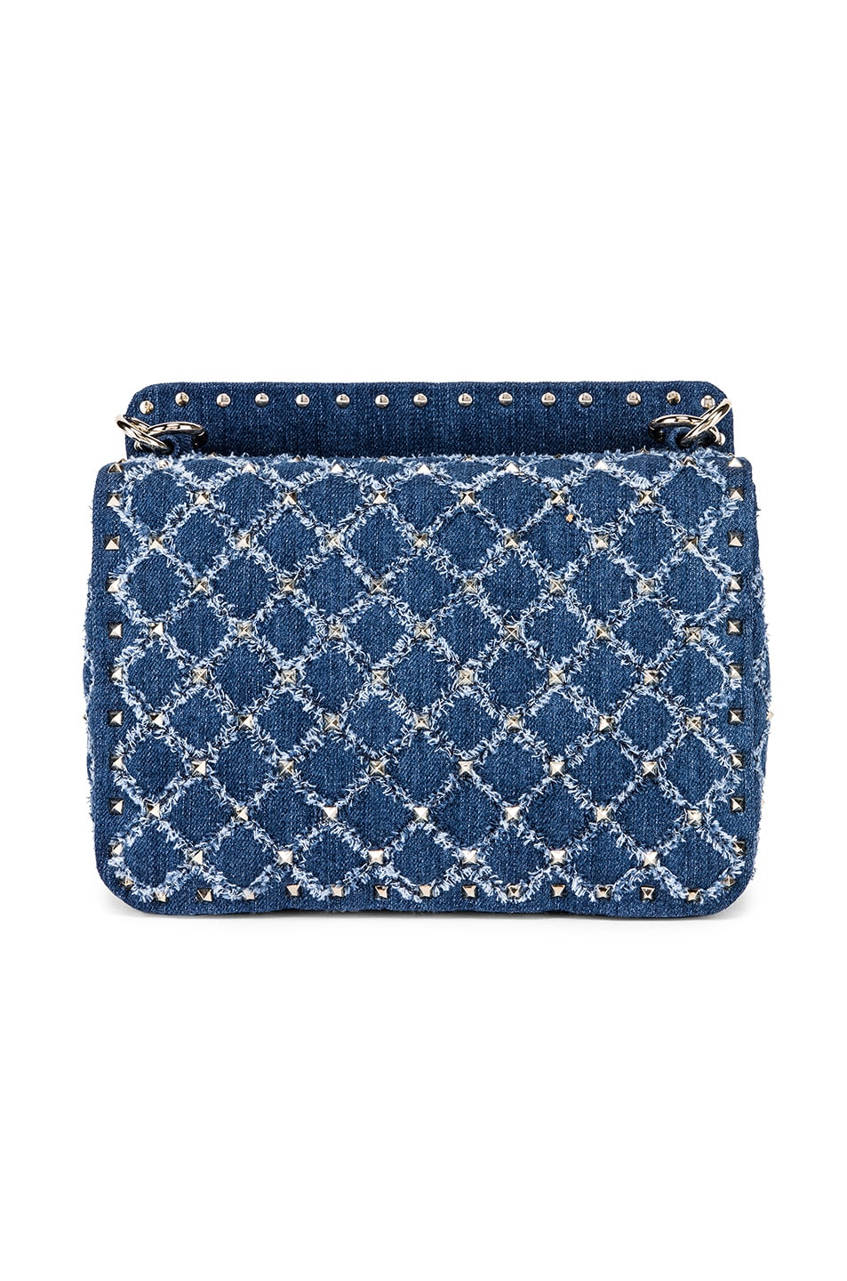 Image 3 of Valentino Rockstud Spike Medium Shoulder Bag in Denim