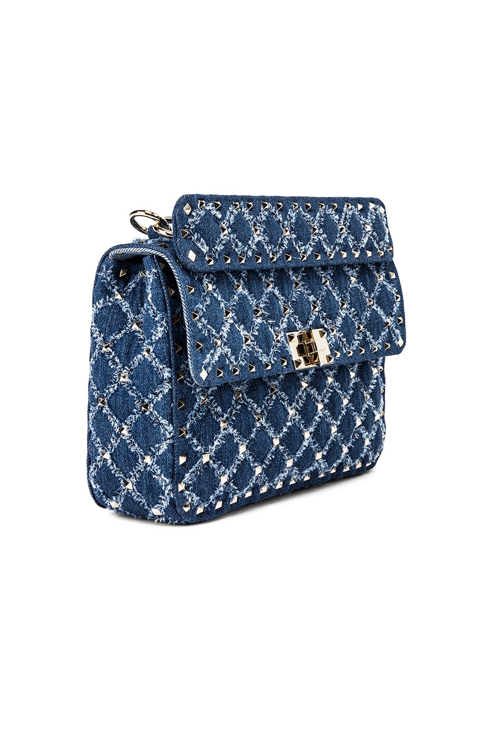 Image 4 of Valentino Rockstud Spike Medium Shoulder Bag in Denim