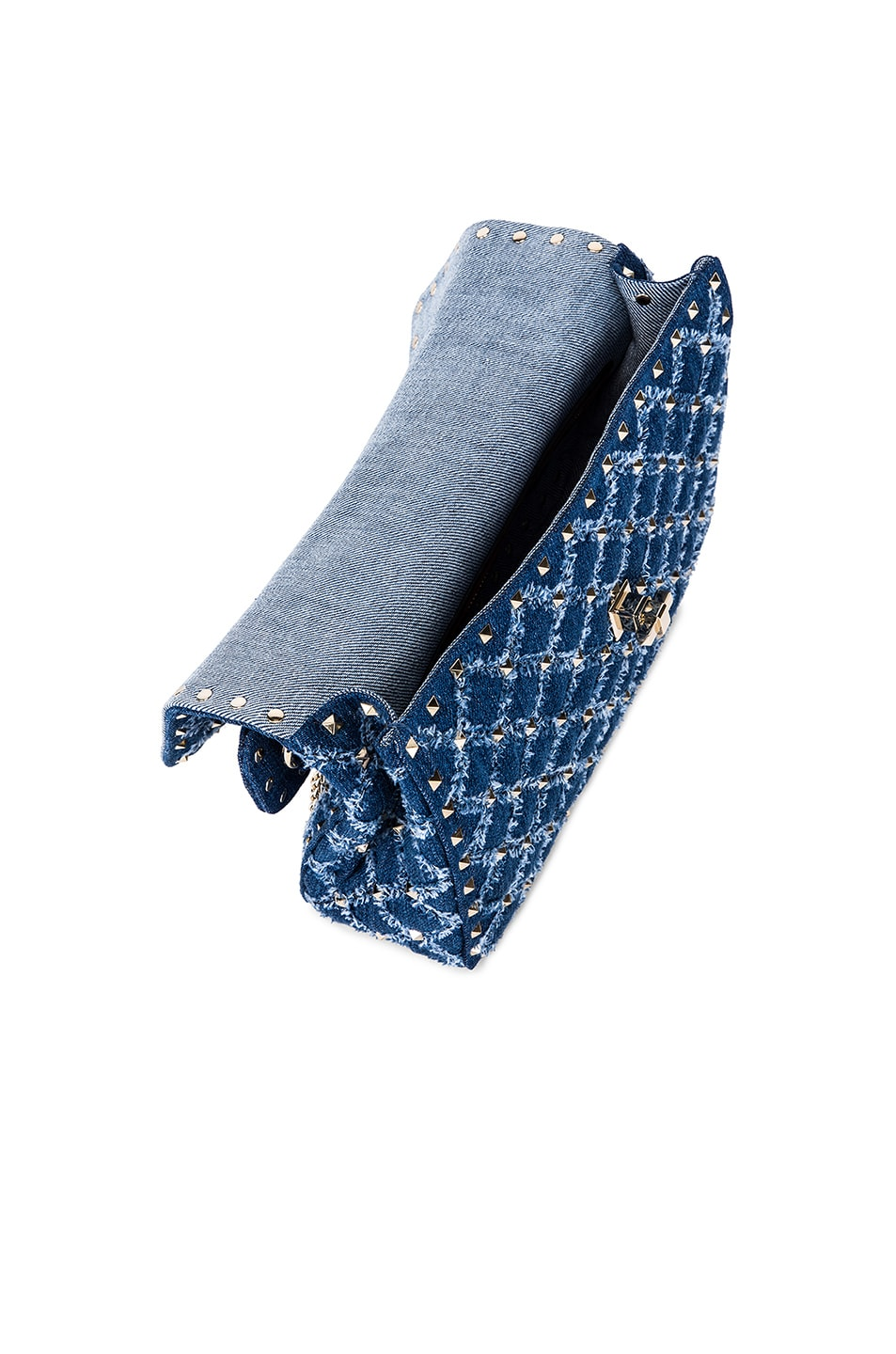 Image 5 of Valentino Rockstud Spike Medium Shoulder Bag in Denim
