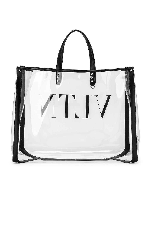 Image 3 of Valentino VLTN Grande Plage Tote in Transparent & Nero