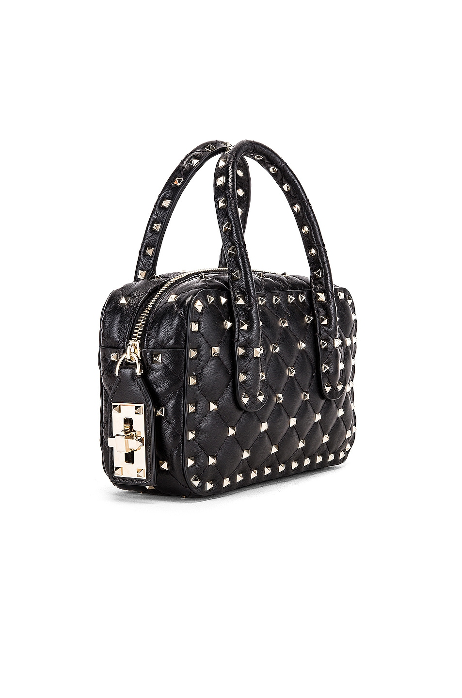 Image 4 of Valentino Rockstud Spike Small Duffle Bag in Nero