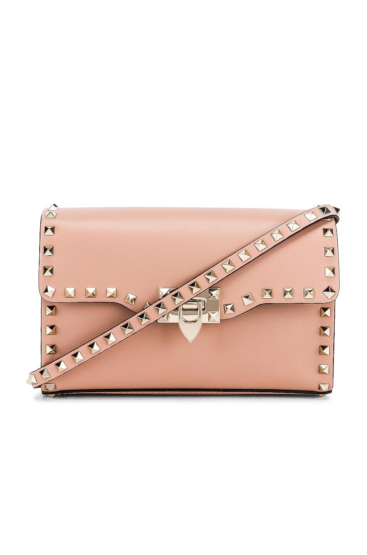 Image 1 of Valentino Rockstud Small Shoulder Bag in Rose Cannelle