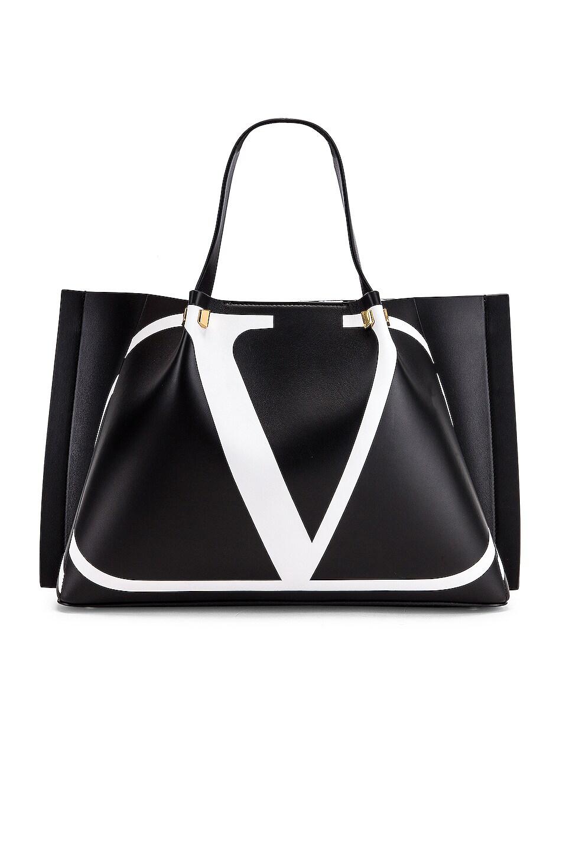 Image 1 of Valentino Go Logo Escape Medium Tote in Black & White