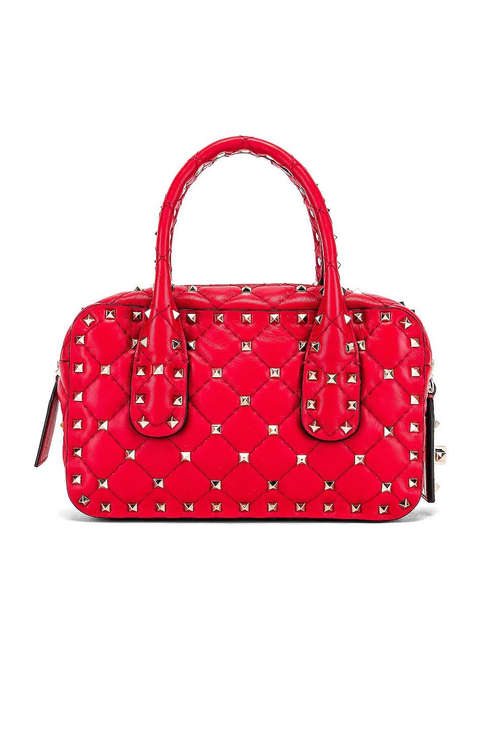 Image 3 of Valentino Rockstud Spike Small Duffle Bag in Rouge