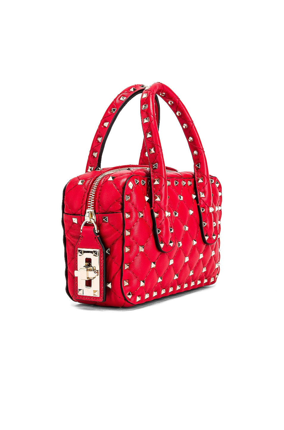 Image 4 of Valentino Rockstud Spike Small Duffle Bag in Rouge