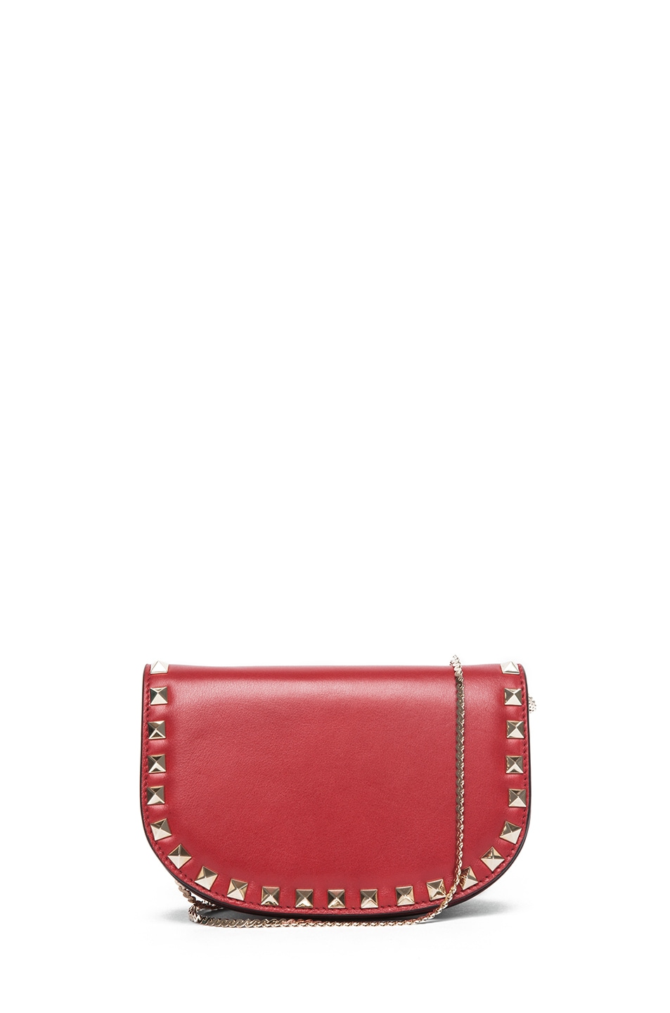 Image 1 of Valentino Mini Round Rockstud Shoulder Bag in Red