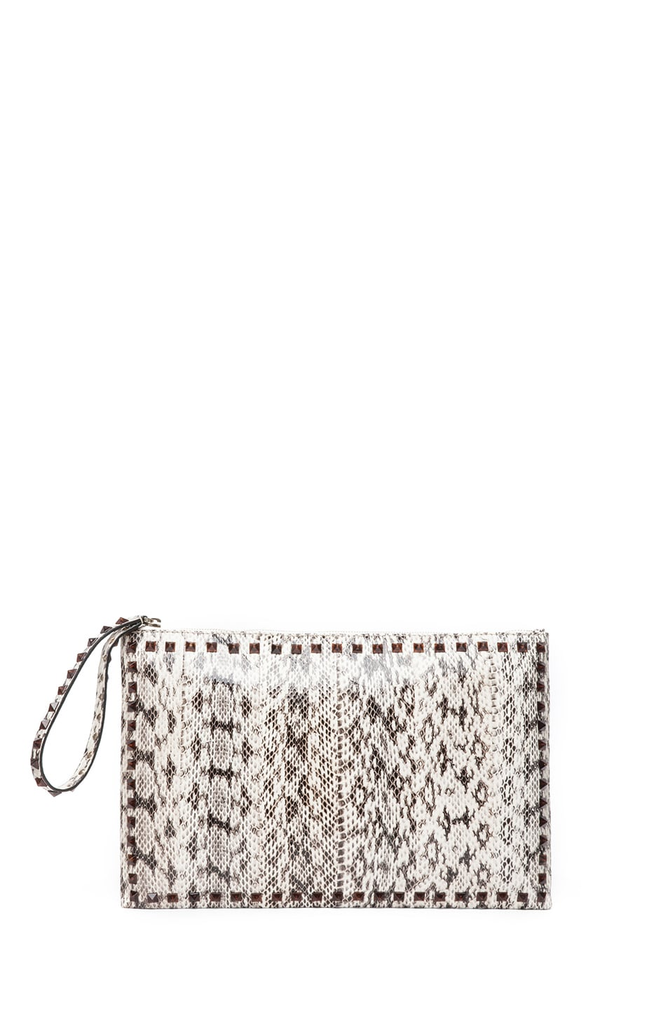 Image 1 of Valentino Rockstud Small Printed Snake Clutch in Light Ivory & Nero