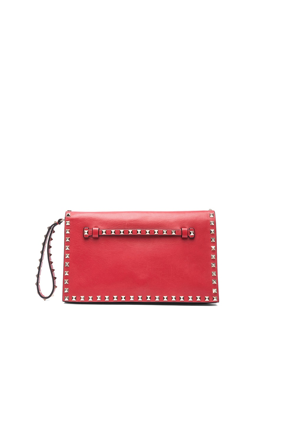 Image 1 of Valentino Rockstud Flap Clutch in Red