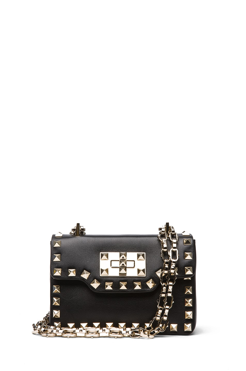 Image 1 of Valentino Small Rockstud Chain Flap Bag in Black