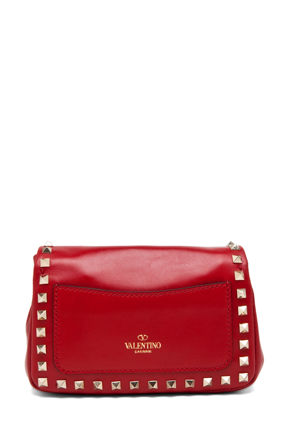 Image 2 of Valentino Rockstud Flap Bag in Red