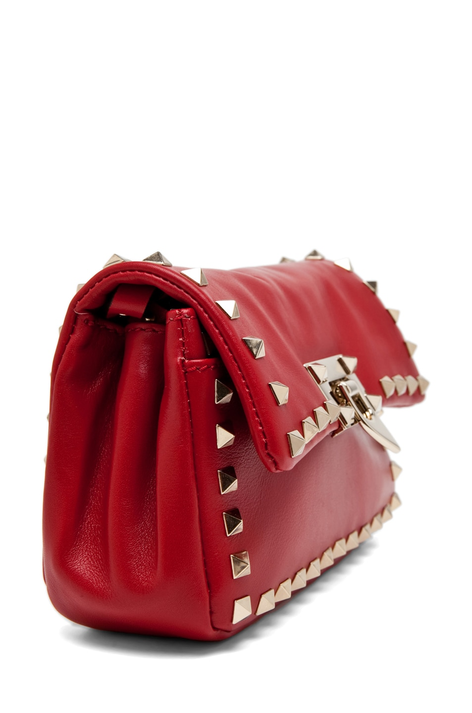 Image 3 of Valentino Rockstud Flap Bag in Red