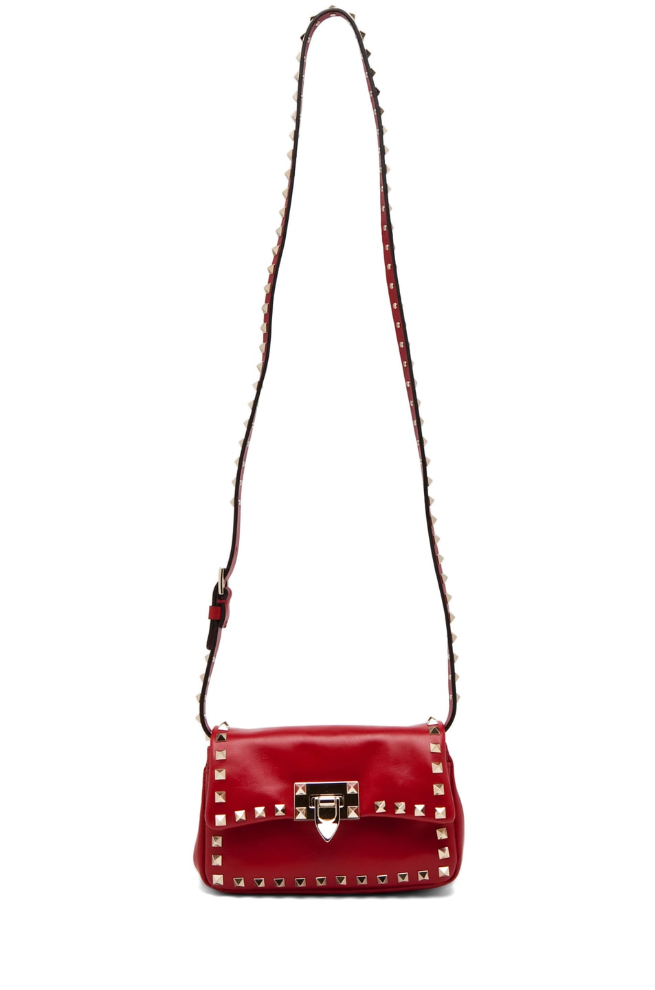 Image 5 of Valentino Rockstud Flap Bag in Red