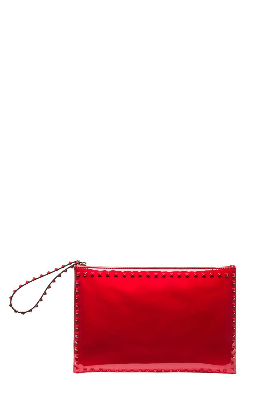 Image 1 of Valentino Small Rockstud Punkouture Clutch Patent in Red