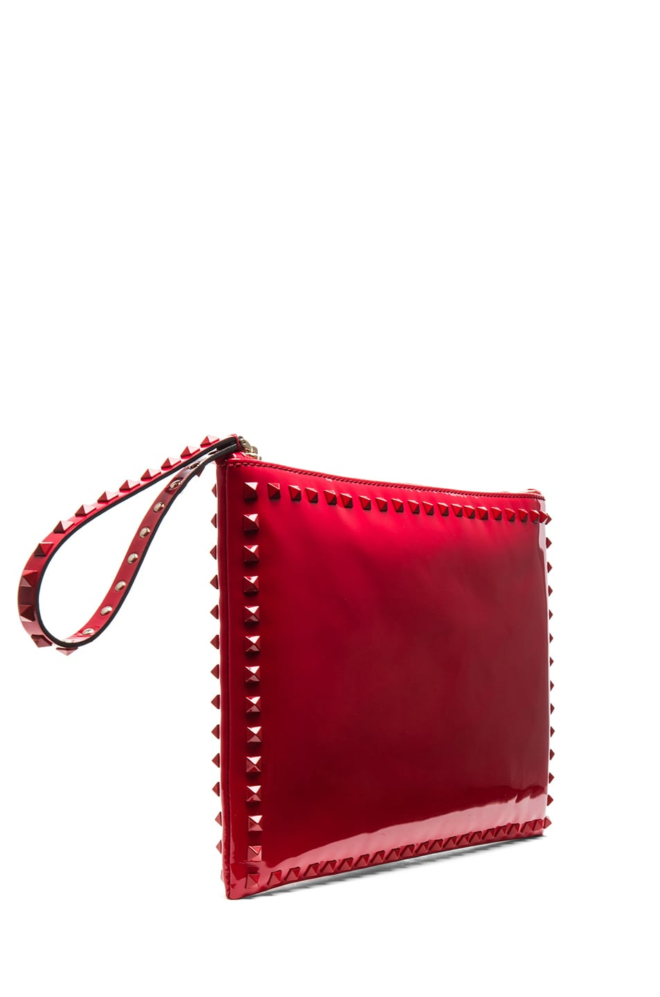 Image 3 of Valentino Small Rockstud Punkouture Clutch Patent in Red