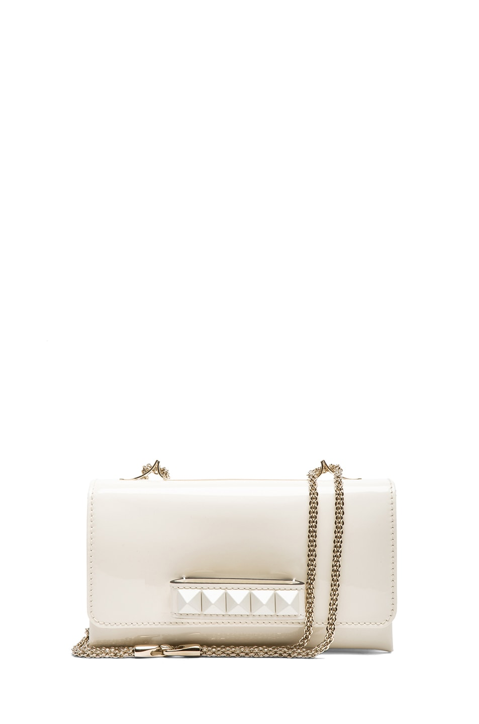 Image 1 of Valentino Medium Punkouture Flap Bag Patent in Light Ivory