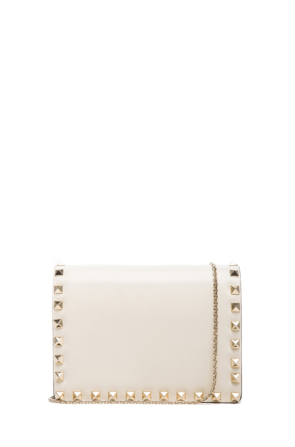 736b73320d Image 1 of Valentino Small Rockstud Flap with Chain in Light Ivory