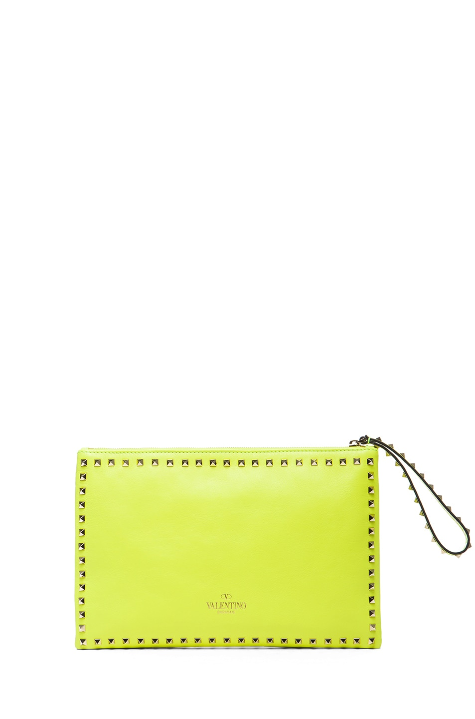 2b0f7dd0ba Image 2 of Valentino Small Rockstud Clutch in Fluo Yellow