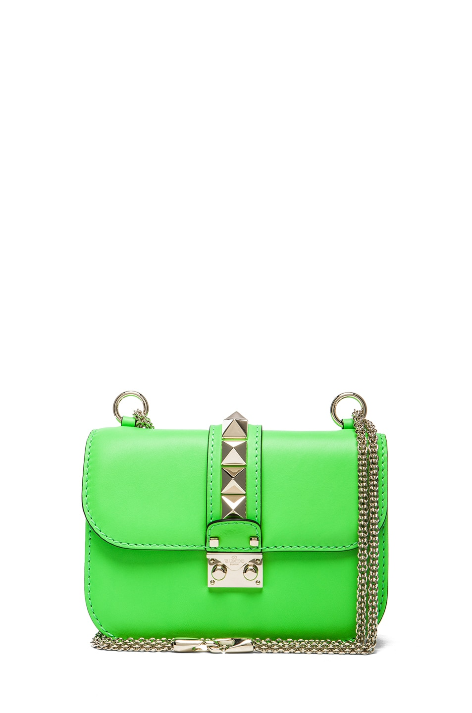 Image 1 of Valentino Small Lock Flap Bag in Fluo Green