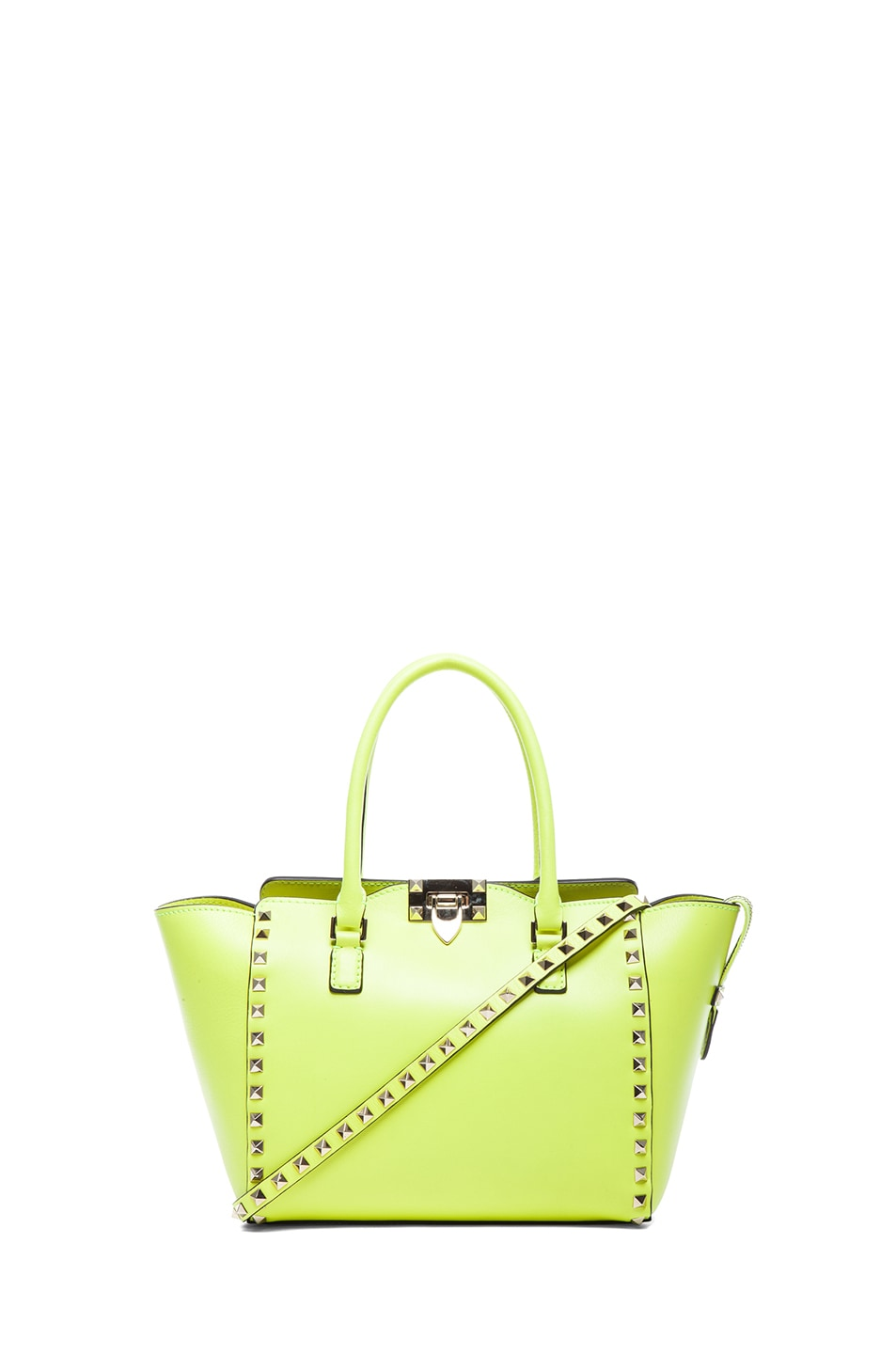 Image 1 of Valentino Small Rockstud Double Handle Bag in Fluo Yellow